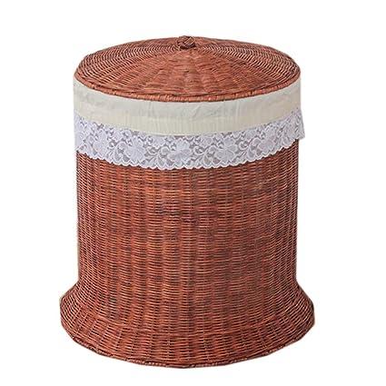 JXM Canasta de bambú Cesta de lavandería Cesta de lavandería con Tapa Ropa Sucia con Canasta