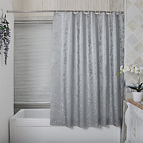 Inn Hampton Bed (Mildew Resistant PEVE Waterproof Thickened Double Embossed Shower Curtain Grey 59 x 70 inch approx)