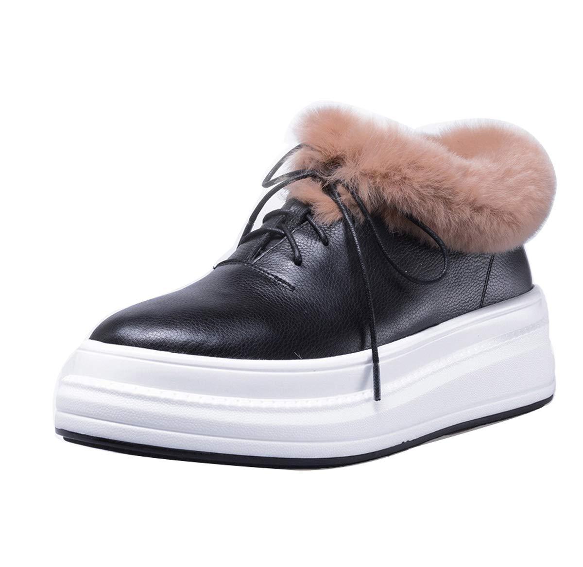 DANDANJIE damen Schuhe Leder Warm Winter Ankle Stiefel Faux Plush Wedge Heel Damen Lace-Up Rutschfeste Schuhe