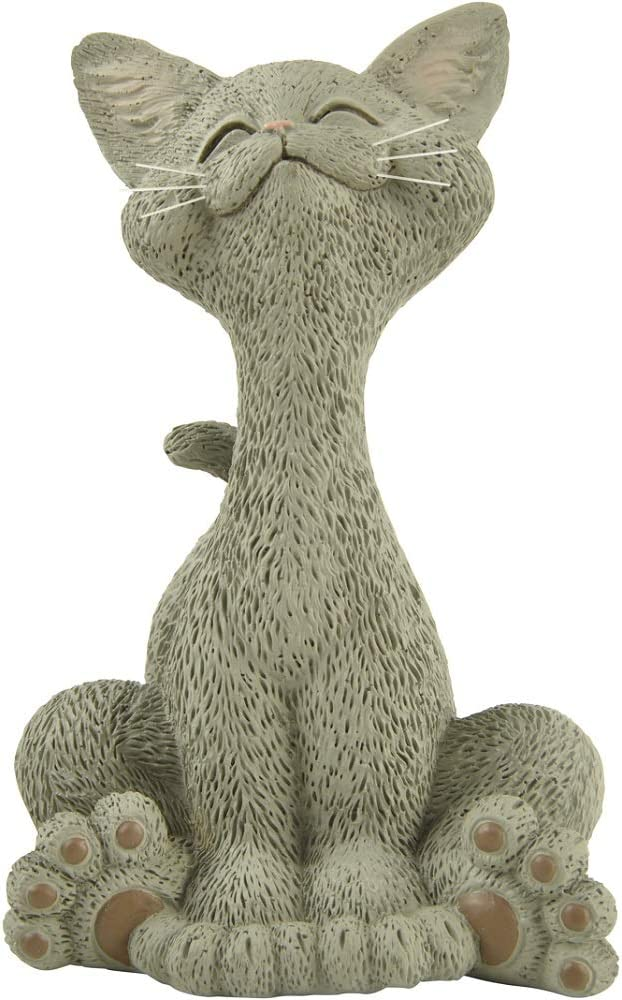 Whimsical Grey Cat Smiling Figurine Funny Collectible - Happy Cat Collection - Cat Lover Gifts for Women, Cat Lover Gifts for Men, Cute Cat Gifts, Cat Office Desk Accessories, Cat Desk Decoration