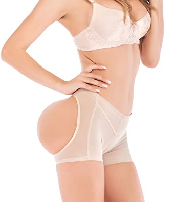 5a4366bf6 SAYFUT Women Butt Lifter Boy Shorts Body Shaper Butt Hip Enhancer Panties  Beige