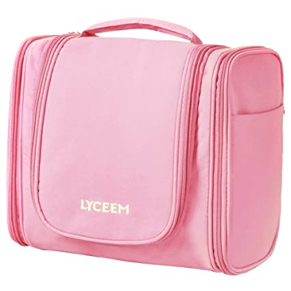 c23e306434c1 Buy Pink   LYCEEM 3 Space Large Travel Toiletry Bag for Men   Women Pink -  Hanging Toiletries Kit for Makeup