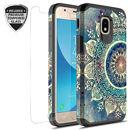Samsung Galaxy J3 Achieve/J3 Star/J3 V 2nd Gen./J3 2018/Express Prime 3/Sol 3/Amp Prime 3 2018 Case With Tempered Glass Screen Protector, Rosebono Graphic Case for SMJ-337 (Green Mandala)