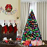 Goplus Pre-Lit Artificial Christmas Tree, Optical Fiber, 8 Flash Modes, with 225 Multicolored LED Lights & Metal Stand (5 FT)