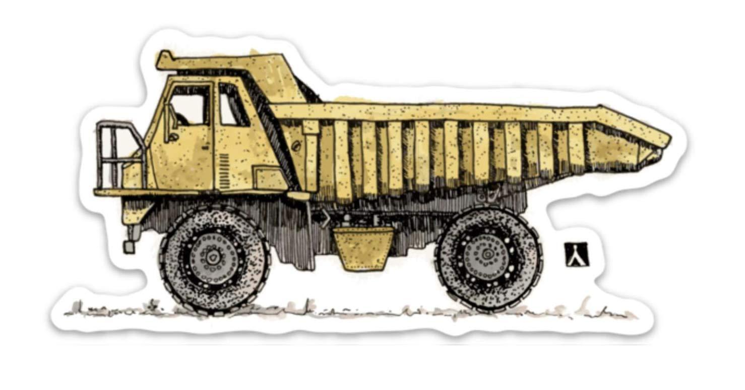 Construction Dump Truck Pen /& Ink Watercolor Vinyl Sticker Illustration BellavanceInk
