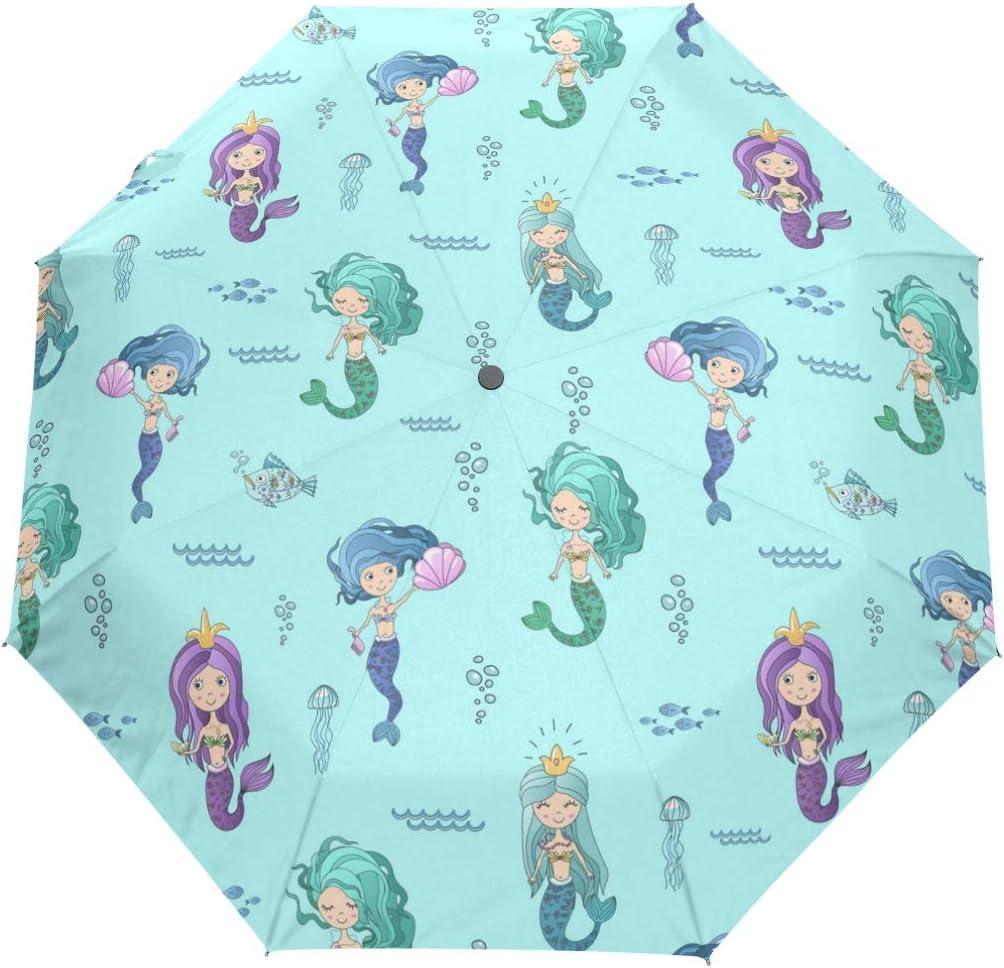 Many Beautiful Mermaid Princesses fashion print cute Windproof automatic tri-fold umbrella sun UV protection Sun umbrella