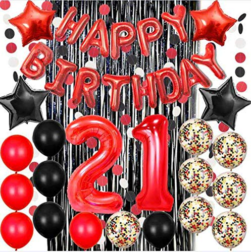 21st Birthday Decorations - Red Happy Birthday Banne, Black Foil Fringe Curtain for Photo Booth Backdrop, Paper Garland, Red Number 21 Balloons, Confetti Balloons, 21st Party -