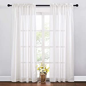 RYB HOME White Linen Curtain Subtle Natural Linen Textured Blend Semi Sheer Curtains Light Glare Filtering Privacy Drapes for Living Room Patio Door Bedroom, 52 inch Width x 84 inch Length, 2 Panels