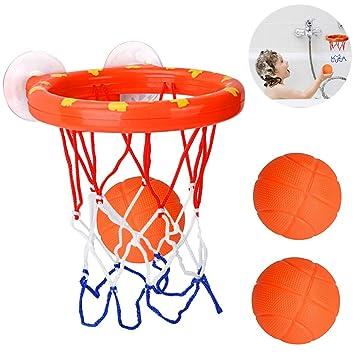 Cyfie Canasta Baloncesto Infantil Bañera,Ganasta de Baloncesto Pequeña de Plástica con 3 Pelotas