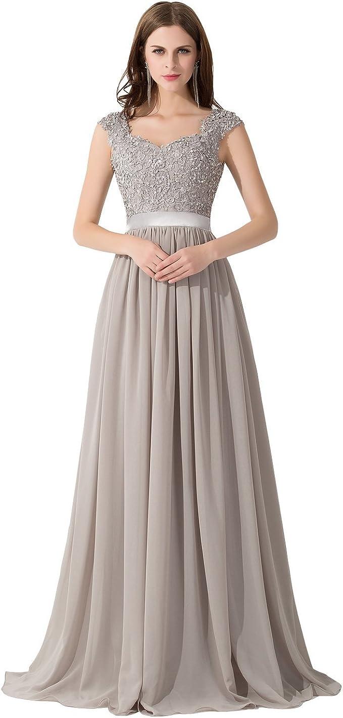 MisShow Damen Hochwertig Spitze Abiballkleider Brautjungfernkleider  Abendkleid Lang 11