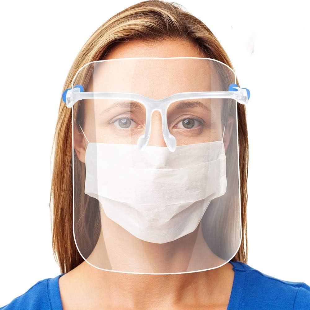 AVJONE Protector Facial de Seguridad Reutilizable con Gafas de Visera, Capa Transparente antivaho para Proteger los Ojos de Las Salpicaduras para Mujeres, Hombres, niños y niños (10 Unidades)