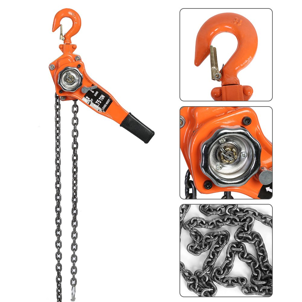 Lever Hoist Chain Block Hoist Ratchet Manual Lever Chain Come Along Chain Puller 10FT Lifting Equipment - Orange (0.75T / 1053.5Lbs)