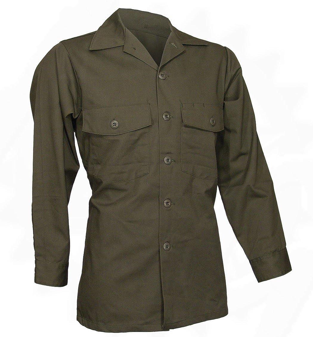 9a96b8459a3 Military Utility Work Shirt, Button Down, Olive Drab Green, 14.5x31