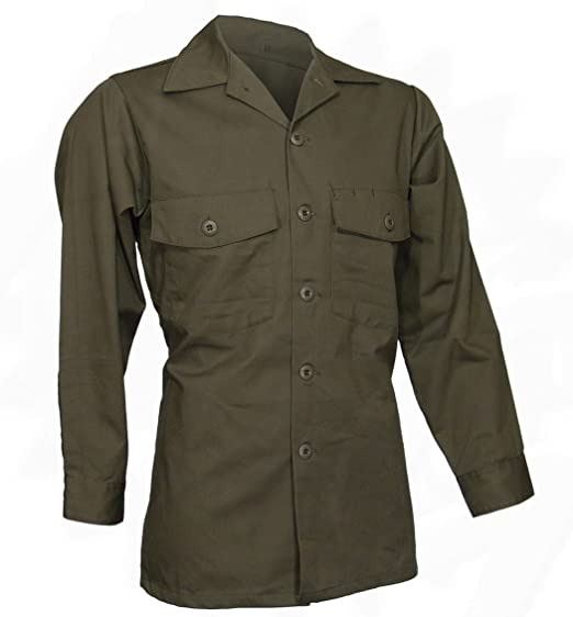 Amazoncom Military Utility Work Shirt Button Down Olive Drab