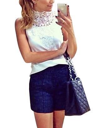 ZXZY Women Sleeveless Turtle Neck Lace Splicing Chiffon Tank Top Shirt Blouse