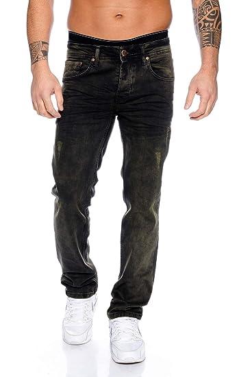 Rock Creek Herren Jeans Vintage Used Look Denim Schwarz Herrenjeans Hose RC 2096 W29 W44