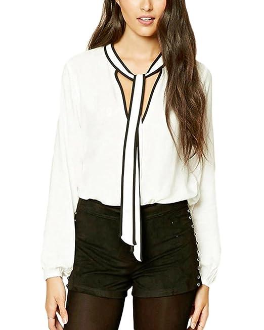 Qitun Blusas de Mujer Camisetas Manga Larga 2018 Elegantes Tamaño Grande Tops Retro Camisa Tops: Amazon.es: Ropa y accesorios