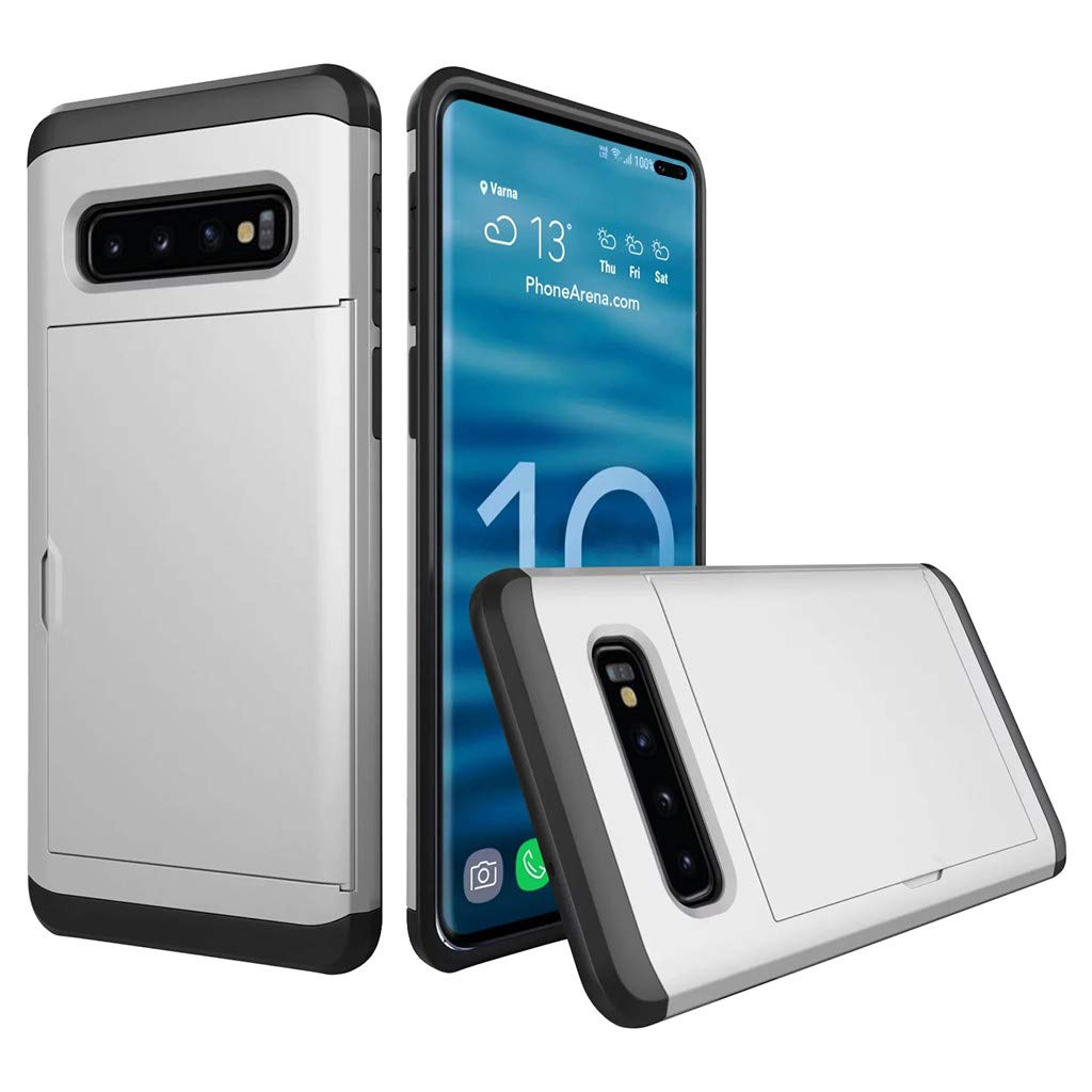 Cyhulu Samsung Galaxy Phone S10 Plus Case, Hot New Brushed Hard PC+Silicone Case Cover Card Holder for Samsung Galaxy S10 Plus 6.4 inch, 11 Color Available (Silver, One size)