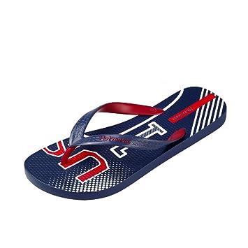 68a5e510b41 HZH Blue Flip Flops Men s Sports Shoes Summer Slippers Flat Bottomed Beach  Shoes (Color