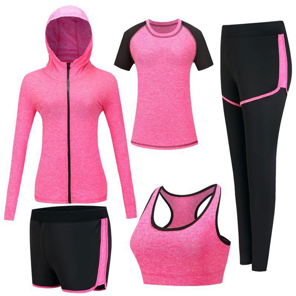 71508f34d2 Onlyso Women s 5pcs Sport Suits Fitness Yoga Running Athletic Tracksuits
