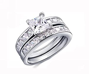 18K White Gold GP Austrian Crystal Princess Cut AAA CZ Lady Bridal Topaz Ring Band