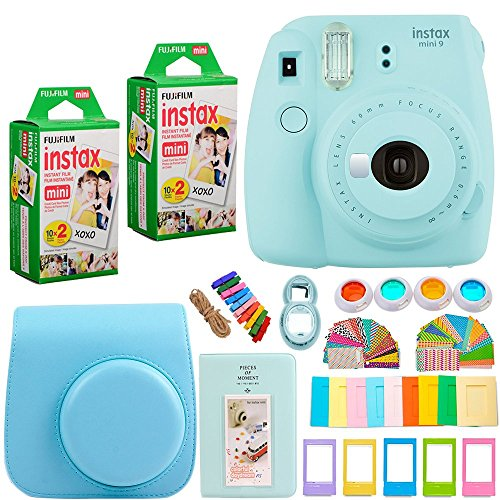 FujiFilm Instax Mini 9 Instant Camera + INSTAX Mini Instant Film (40 Sheets) + Camera Case and 7 in 1 Colorful Accessory Bundle Kit - Ice Blue