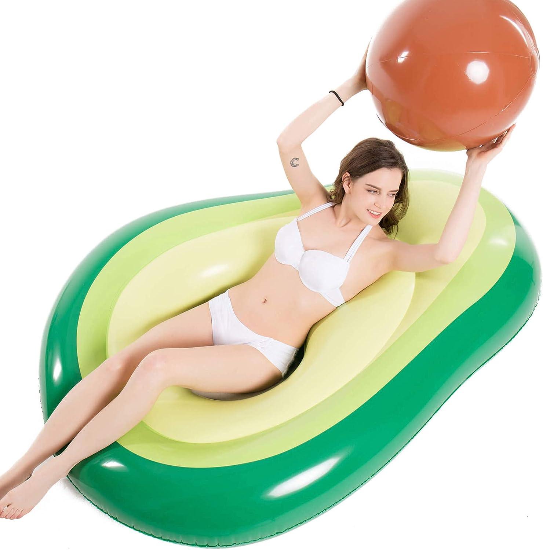 3 Drink Holders Summer Pool Raft with Avocado Pool Float Raft Outdoor Swimming Pool Inflatable Float .Fun Pool Floaties Swim Party Toy