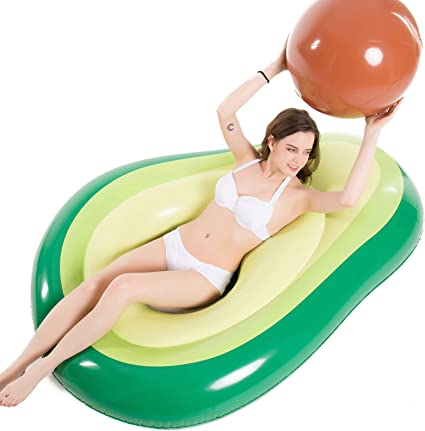 Leonnnnn Inflatable Avocado Pool Float Floatie with Ball Fun Pool Floats Floaties Party Pool Lounger Swimming Pool Inflatable Toys for Adults /& Kids 63x51.2