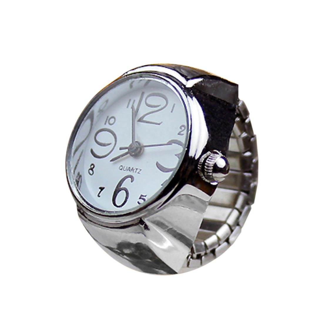 Start Unisex Men Women Couple Ring Watch Creative Elastic Stainless Steel Finger Watch (White)