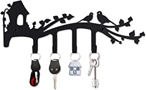 Decorative Wall Mounted Iron Key Holder, 12 inch with 4 Key Hooks Organizer for car or House Keys, Key Rack with Screws and Anchors (A Fine Spring Day)