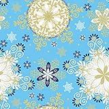 Jillson Roberts 24 Sheet Count Elegant Winter Christmas Printed Tissue, Blue/White/Gold