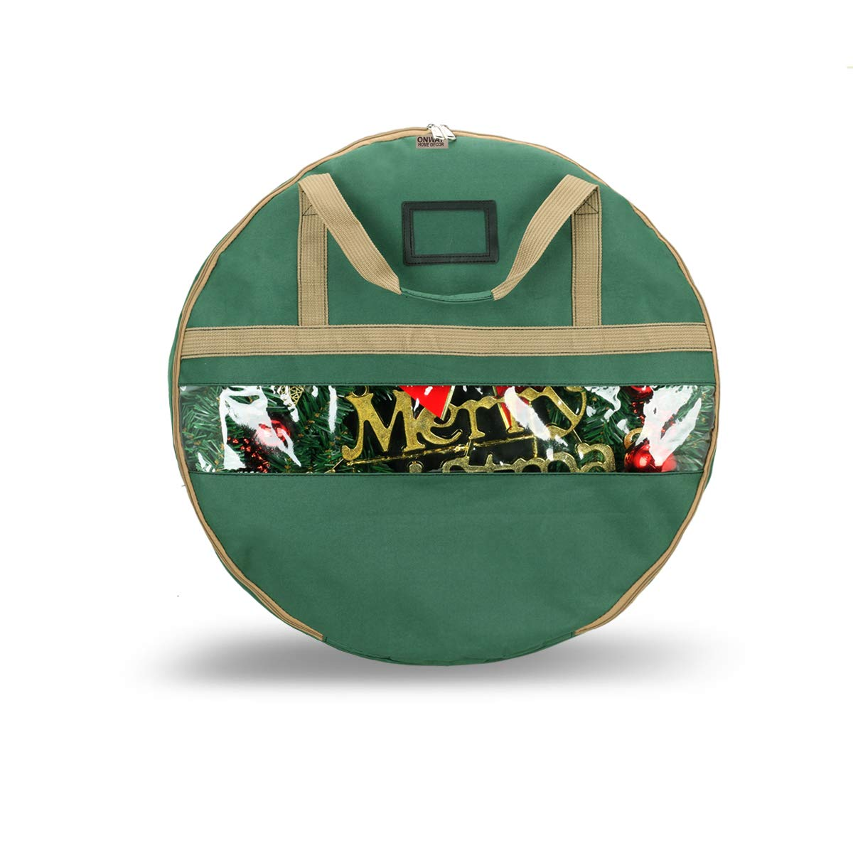 ONWAY Wreath Storage Container Heavy Duty Canvas Wreath Storage Bag for Christmas/Easter/Door/Spring/Winter/Welcome/Valentines Day Wreath with Clear Window and Transparent Card Slot (24 inch Green) by ONWAY
