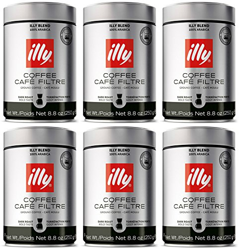 illy Caffe Scuro Drip Grind (Dark Roast, Brown Band), 8.8-Ounce Tins (Pack of 6)