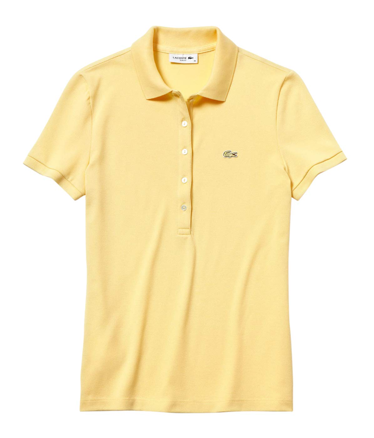 Lacoste Women's Classic Short Sleeve Slim FIT Stretch Pique Polo, NAPOLITAN Yellow 4