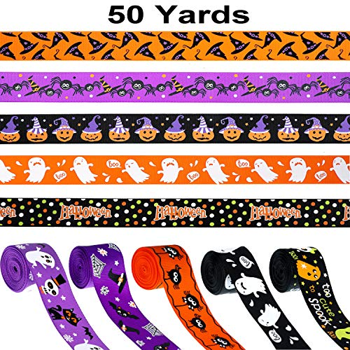 Halloween Hair Bow Diy (50 Yards Halloween Ribbons Grosgrain Halloween Decorative Ribbons Black Orange Purple Gift Wrapping Ribbons Hair Bows Ribbons for Halloween DIY Supplies, 10)