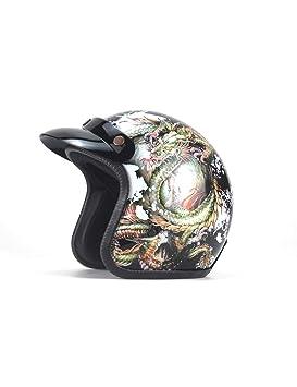 ZYear Casco De Moto De Personalidad Vintage Cascos De Cara Abierta De Harley para Mujer Negro