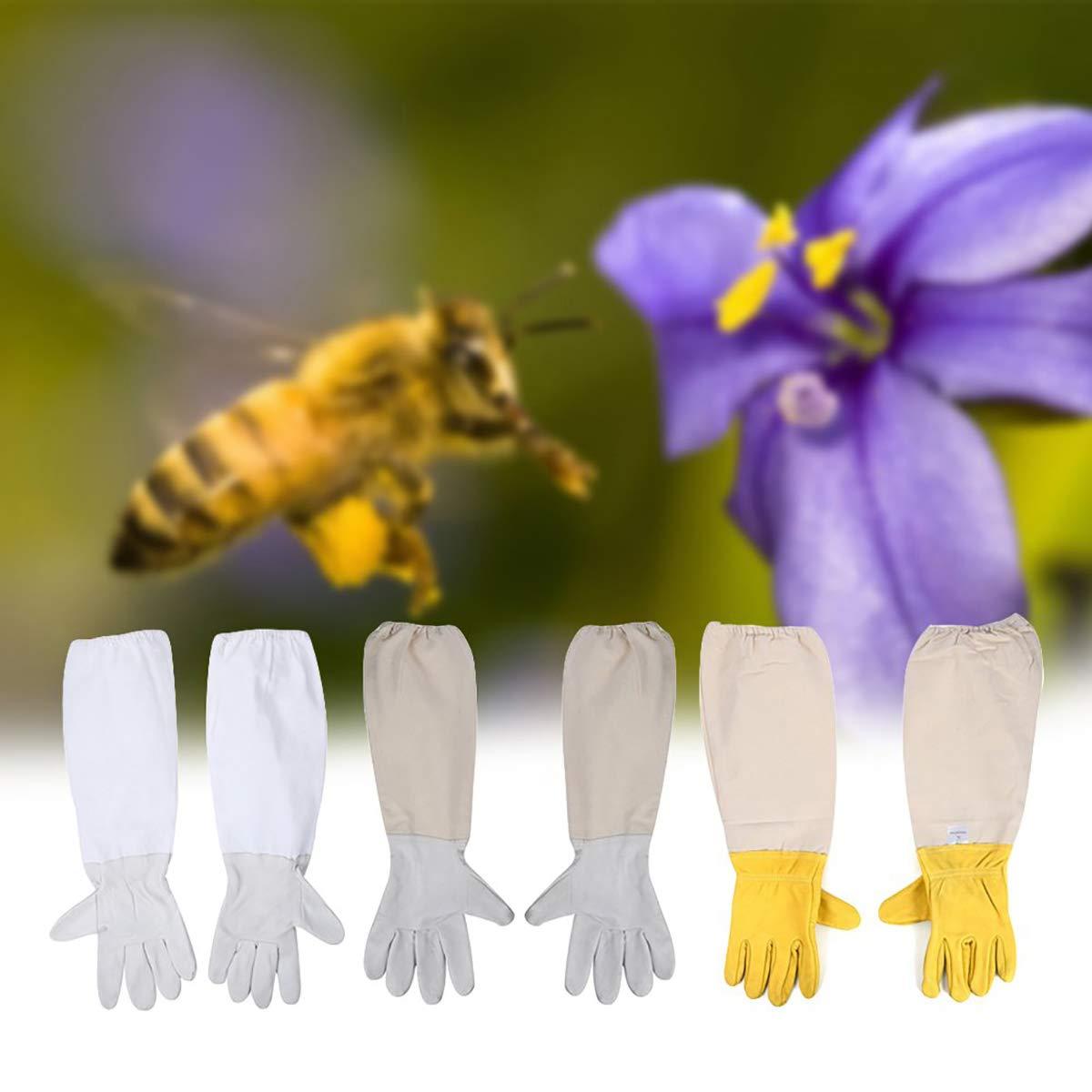Morning May Imkerhandschuhe Bienenzucht Schutzschuhe aus Schafspelz und gebleichtes Gewebe wei/ß