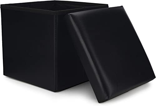 WoneNice Small Faux Leather Folding Storage Ottoman