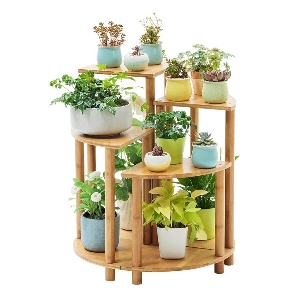 CUI XIA UK Flower stand Combinazione di bambù con Cornice in Legno massello a Forma di ventaglio Balcone in Legno per Interni Balcone Multi-Strato Multifunzionale con Vaso da Fiori