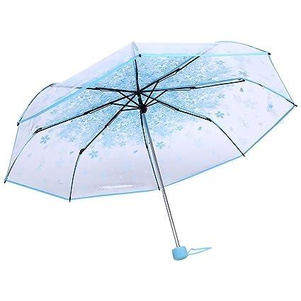 LAAT Foldabe Paraguas Romantic Cherry Rain Paraguas transparente a prueba de viento Paraguas para damas y