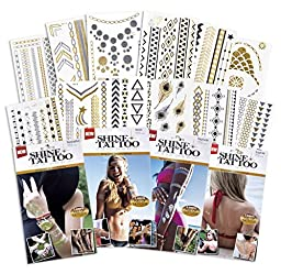 Traditional Sexy Temporary Flash Tattoo Kit for Beginners ● 180+ Pieces ● WaterProof Version ● Black, Gold, & Silver (Party Kit)