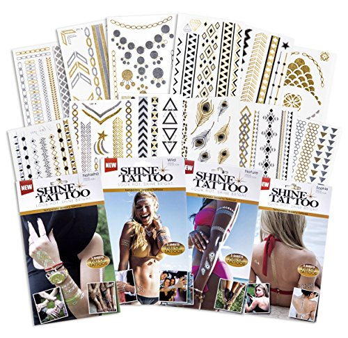 Traditional Sexy Temporary Flash Tattoo Kit for Beginners ● 180+ Pieces ● WaterProof Version ● Black, Gold, & Silver (Party - Temporary Pride Tattoos