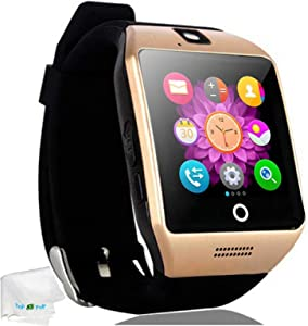 Touch Screen Smart Watch Bluetooth Wrist Watch Pedometer Fitness Tracker Smartwatch Sleep Monitor Compatible Android Cell Phones Samsung Galaxy S8 S9 S10 J8 J7 J6 Huawei Lg ZTE Men Women Boys Gold