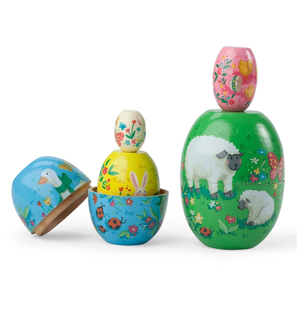 Set of 5 Joyful Spring Stackable Wooden Nesting Eggs