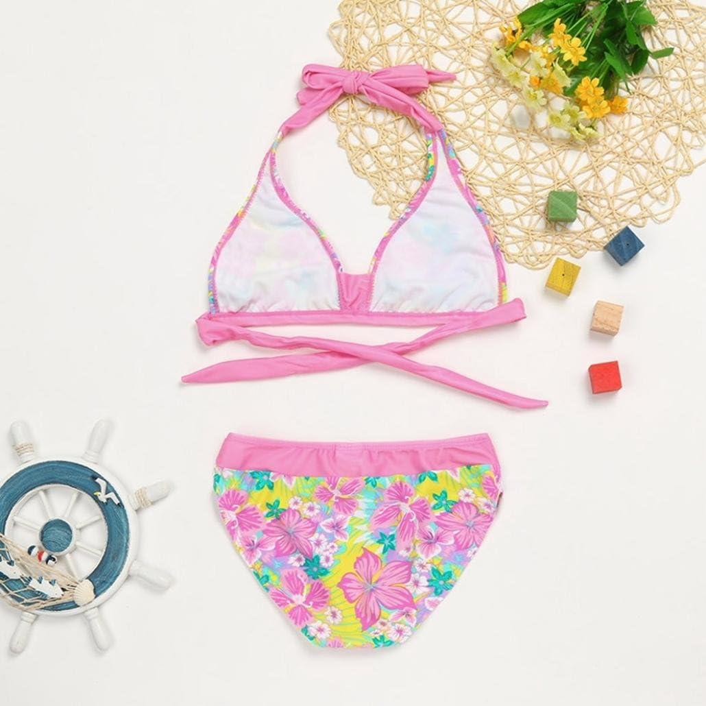 Fartido Kid Girl Floral Print Swimwear Flower Theme Swimsuit Bikini Set Outfits