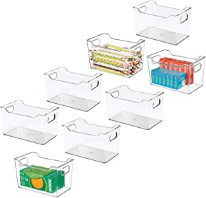 mDesign Plastic Home, Office Storage Organization Bin Basket with Handles - for Cabinets, Closets, Drawers, Desks, Tables, Workspace - Cube - 10 Inches Wide, 8 Pack - Clear