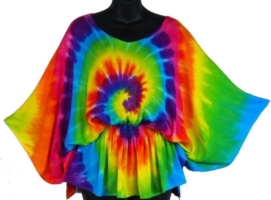 Rainbow Spiral Tie Dye Butterfly Poncho Top Blouse-Medium-Multicolor