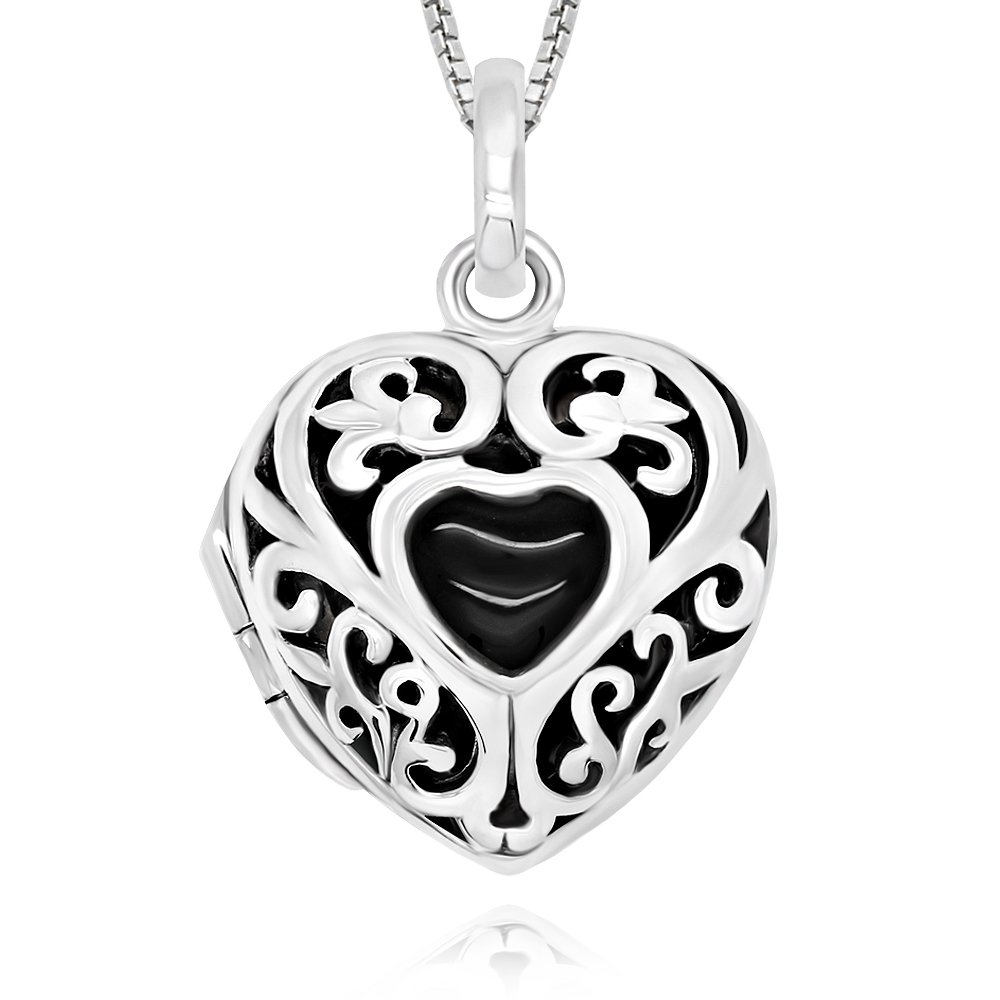 925 Sterling Silver Simulated Onyx Heart Locket Necklace, 18''