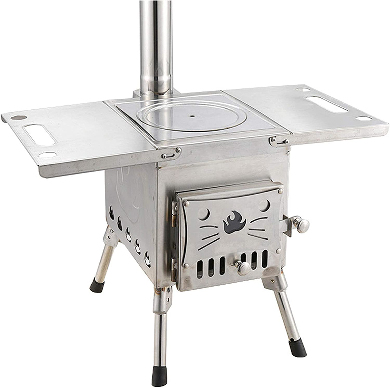 Wood Stove for Cooking and Heating Burning Portable,Indoor&Outdoor Tent/Home Stoves Wood/Pellet Stove Burning - Steel Plate/Stainless Steel