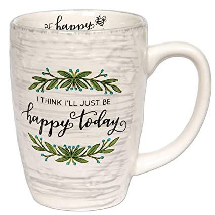Brownlow Gifts Simple Inspirations Ceramic Coffee Mug, Just Be Happy